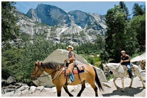 Trail rides in Yosemite below Half Dome