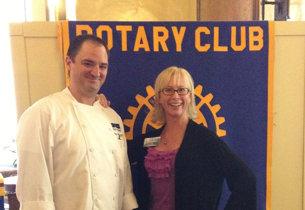 Chef Percy Whatley and Rotary Club member Teri Marshall.