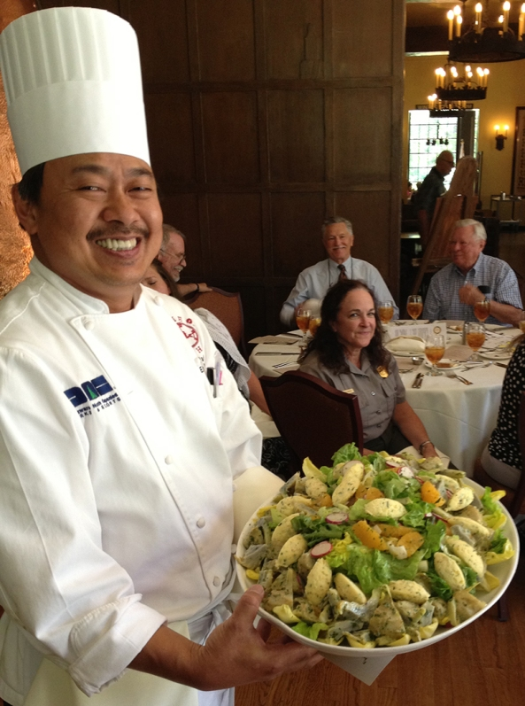 Serving the Rotary Club luncheon at The Ahwahnee. Photo by Teri Marshall.
