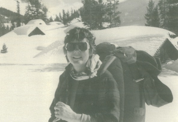 Martha Miller on a ski trip near Tioga Pass in Yosemite.