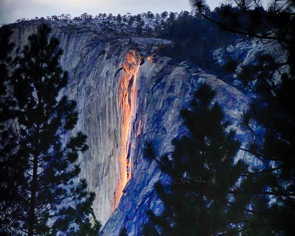 Horsetail Fall at sunset on February 13, 2014. Photo by Chris Falkenstein.
