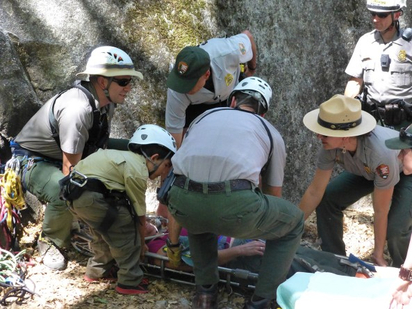Ranger Gabriel assists with the rescue of an 'injured' hiker.