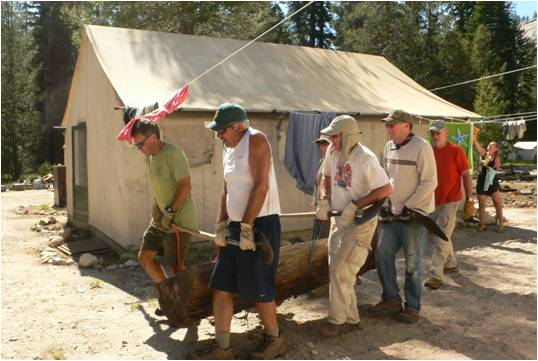 Restoration workers at Merced lake High Sierra Camp.