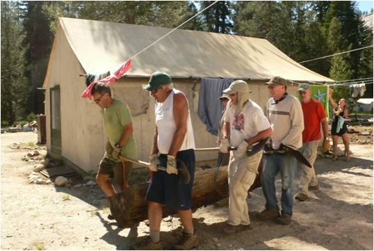 Restoration workers at Merced lake High Sierra Camp.