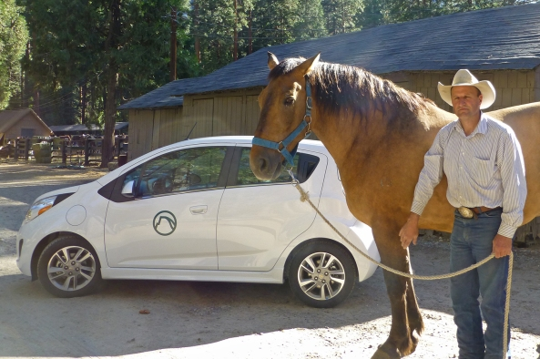 The Chevrolet Spark, Goliath the Horse and JR the Stables manager in Yosemite.