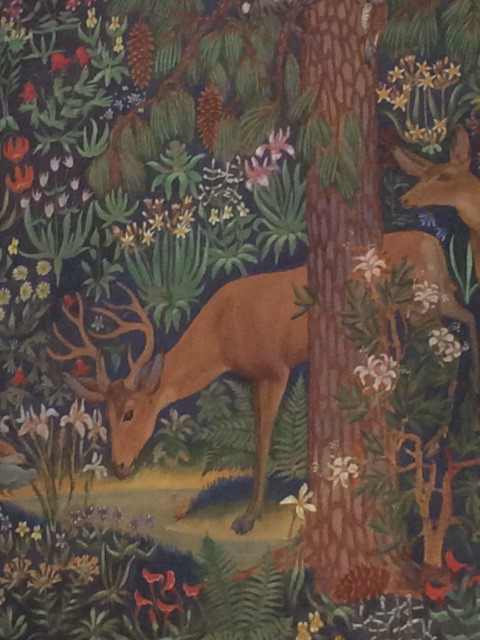 Detail of the mural by Robert Boardman Howard on the wall of the Mural Room.