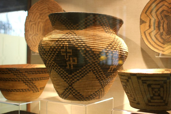 Native American baskets on display in the Great Lounge at The Ahwahnee.