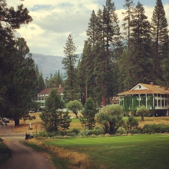 The view of Wawona Hotel from Wawona golf course