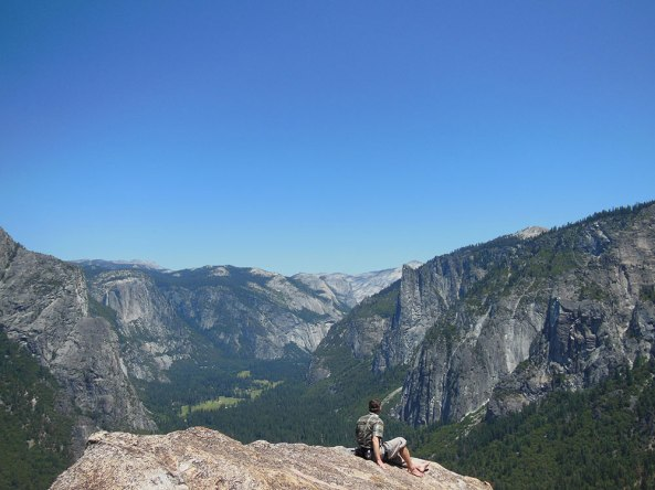 View from the summit of Higher Spire, looking toward Yosemite Falls (left) and Sentinel Rock (right).