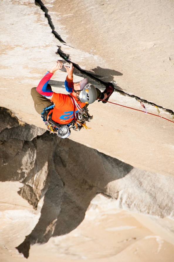 Veteran Timpson Smith leading high up on El Capitan Photo: Chris Guinn