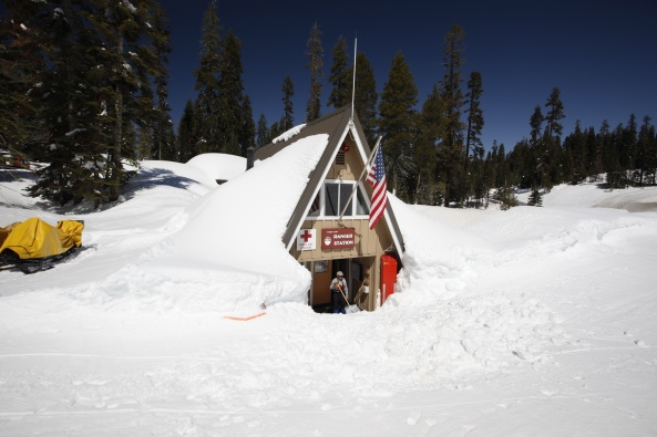 Ranger Station in Snow