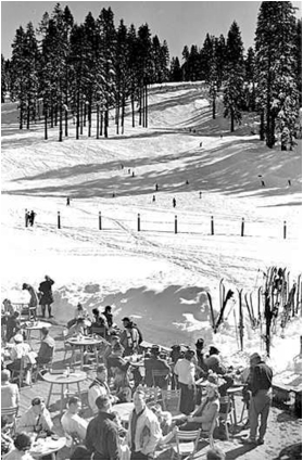 The deck at Badger Pass Ski Area in 1939