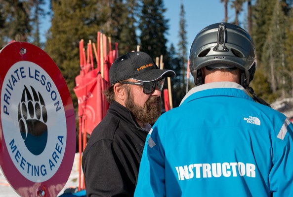 Chuck Carter is celebrating his 46th winter at Badger Pass. Pictured here organizing ski and snowboard lessons.
