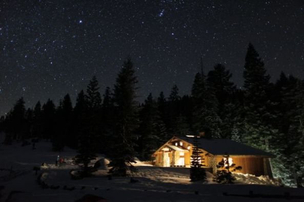 Glacier Point Ski Hut at night